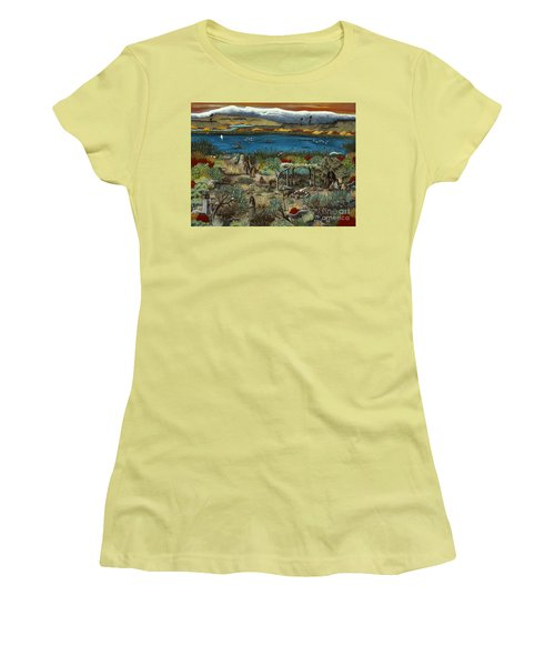 Women's T-Shirt (Junior Cut) featuring the painting The Oregon Paiute by Jennifer Lake