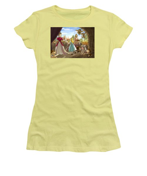Women's T-Shirt (Junior Cut) featuring the painting The Palace Balcony by Reynold Jay
