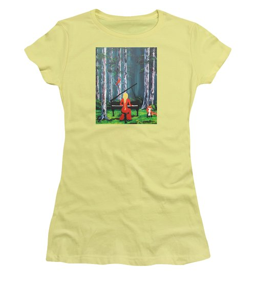 The Pianist In The Woods Women's T-Shirt (Junior Cut) by Patricia Olson