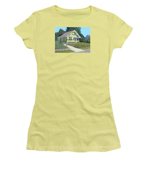 Women's T-Shirt (Junior Cut) featuring the painting Our Neighbour's House by Gary Giacomelli