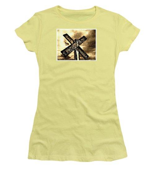 The Railroad Crossing Women's T-Shirt (Junior Cut) by Glenn McCarthy Art and Photography