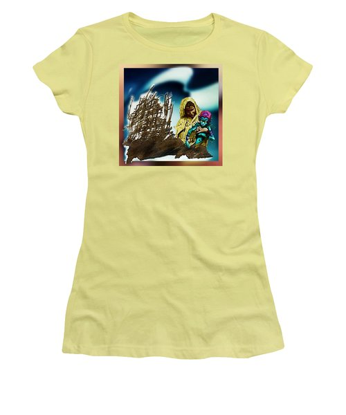The Rescued  Alien  Child Women's T-Shirt (Junior Cut) by Hartmut Jager