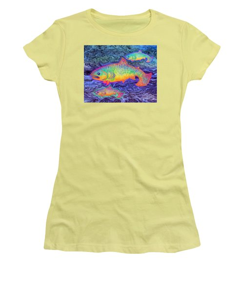 Women's T-Shirt (Junior Cut) featuring the mixed media The Salmon King by Teresa Ascone