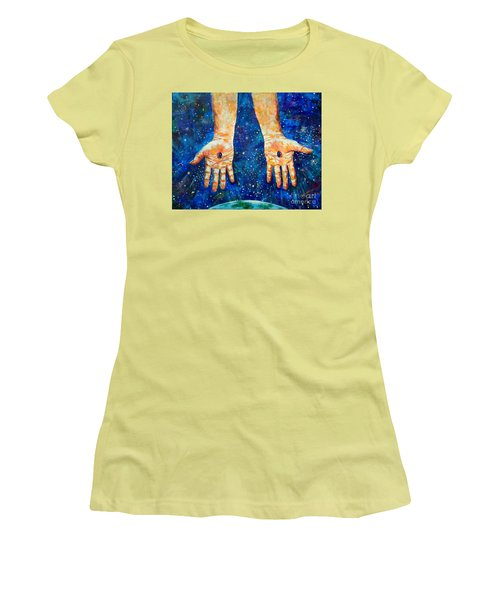 The Whole World In His Hands Women's T-Shirt (Athletic Fit)