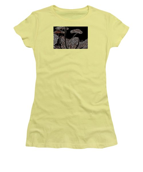 Women's T-Shirt (Junior Cut) featuring the painting These Silly Little Mushrooms by Sherri  Of Palm Springs
