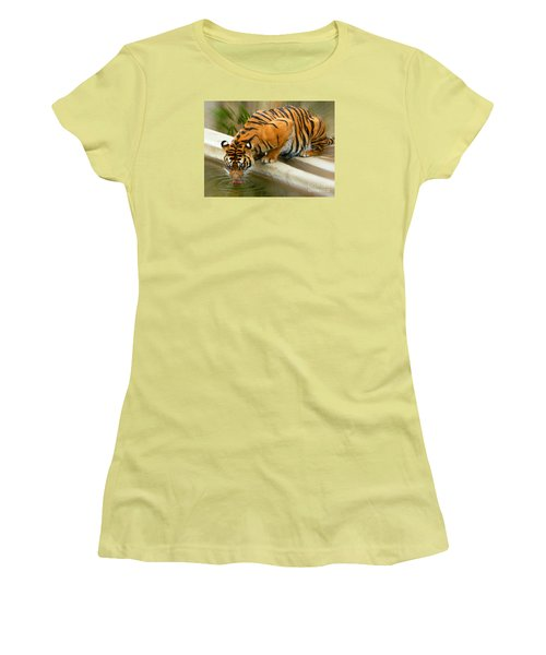 Thirsty Sumatran Tiger Women's T-Shirt (Athletic Fit)