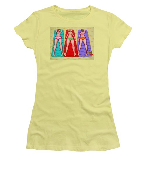 Three Bathing Beauties And Buster Women's T-Shirt (Junior Cut) by Rebecca Korpita