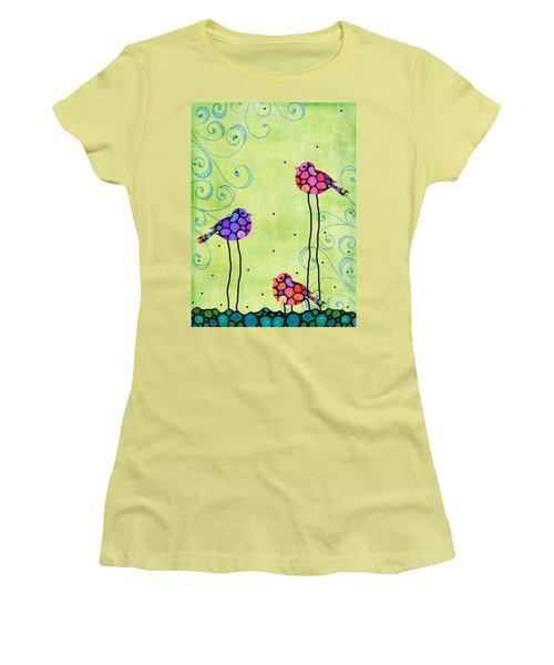 Three Birds - Spring Art By Sharon Cummings Women's T-Shirt (Athletic Fit)