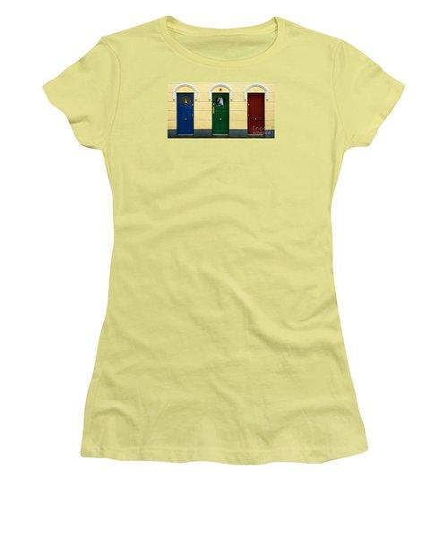 Three Doors Women's T-Shirt (Athletic Fit)
