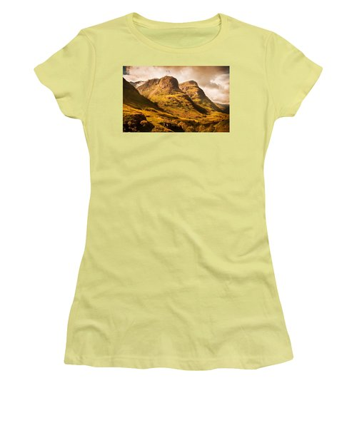 Three Sisters. Glencoe. Scotland Women's T-Shirt (Junior Cut) by Jenny Rainbow
