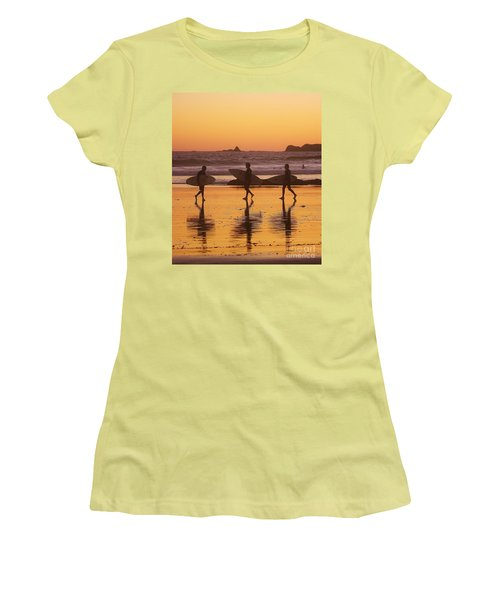 Three Surfers At Sunset Women's T-Shirt (Athletic Fit)