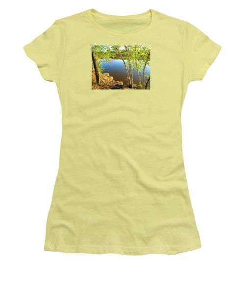 Through The Birch Women's T-Shirt (Junior Cut) by MTBobbins Photography