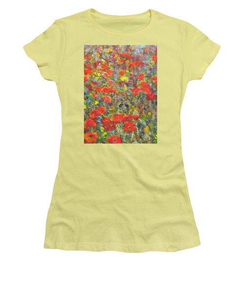 Tiptoe Through A Poppy Field Women's T-Shirt (Junior Cut) by Richard James Digance