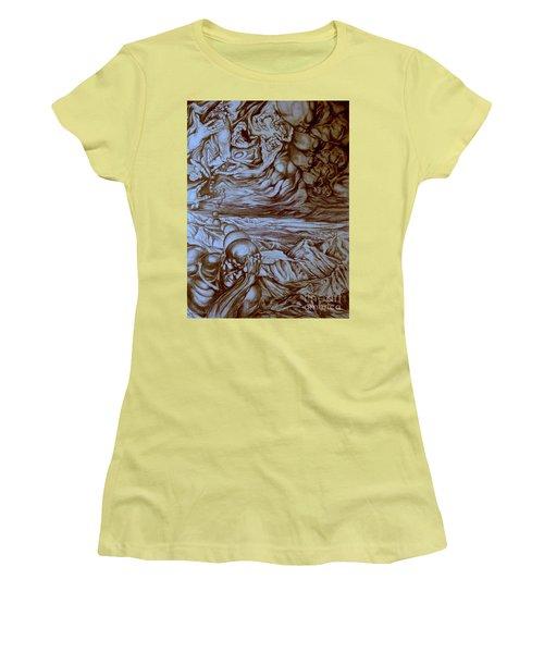 Women's T-Shirt (Junior Cut) featuring the drawing Titan In Desert by Mikhail Savchenko