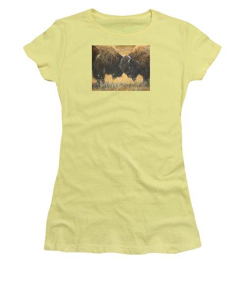 Titans Of The Plains Women's T-Shirt (Junior Cut) by Kim Lockman