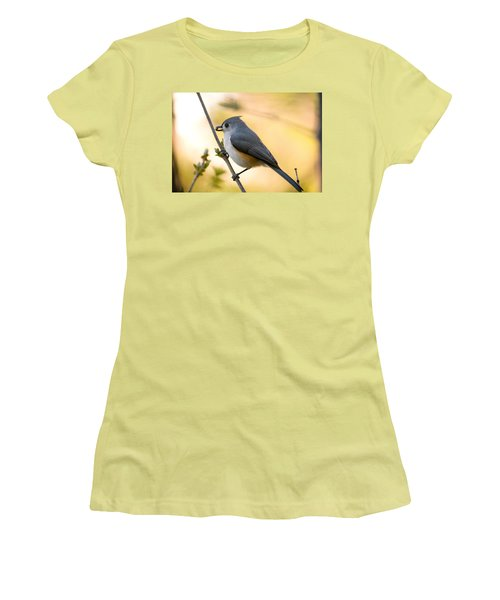 Titmouse In Gold Women's T-Shirt (Athletic Fit)