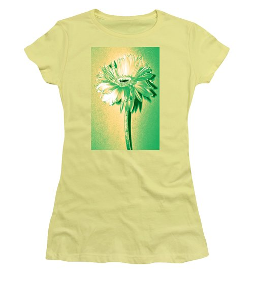 Touch Of Turquoise Zinnia Women's T-Shirt (Junior Cut) by Sherry Allen