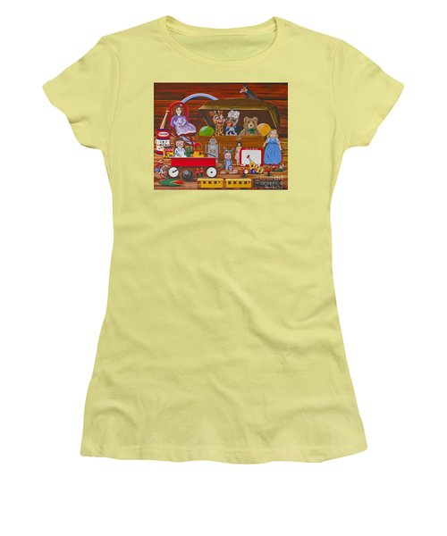 Women's T-Shirt (Junior Cut) featuring the painting Toys In The Attic by Jennifer Lake