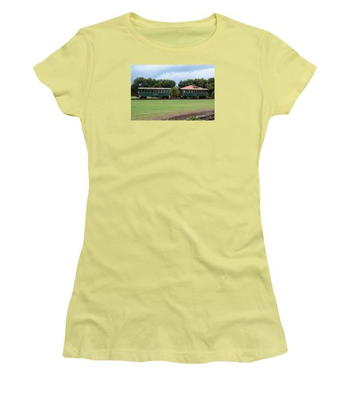 Women's T-Shirt (Junior Cut) featuring the photograph Train Lovers by Suzanne Luft