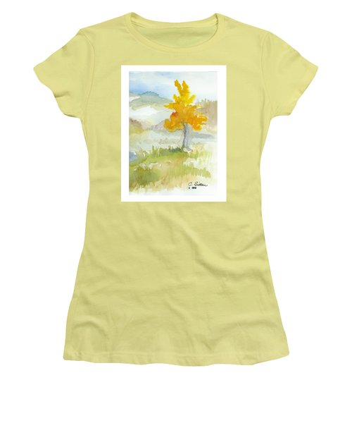 Women's T-Shirt (Junior Cut) featuring the painting Tree by C Sitton