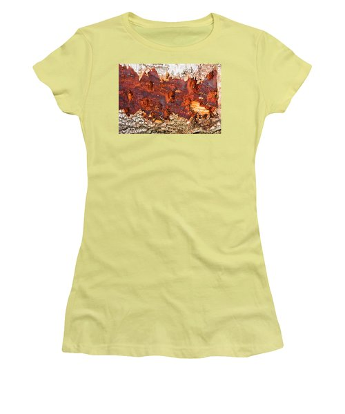 Tree Closeup - Wood Texture Women's T-Shirt (Junior Cut) by Matthias Hauser