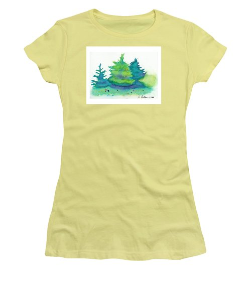 Women's T-Shirt (Junior Cut) featuring the painting Trees 2 by C Sitton