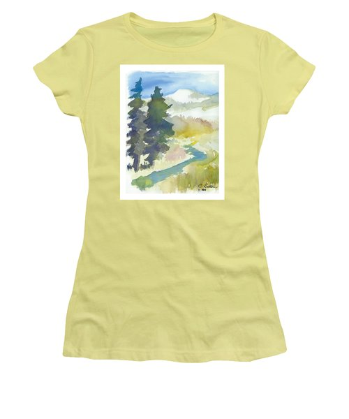 Women's T-Shirt (Junior Cut) featuring the painting Trees by C Sitton