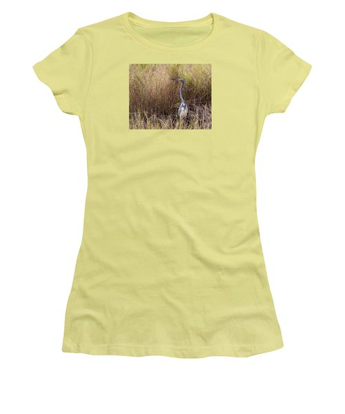 Women's T-Shirt (Junior Cut) featuring the photograph Tricolored Heron Peeping Over The Rushes by John M Bailey