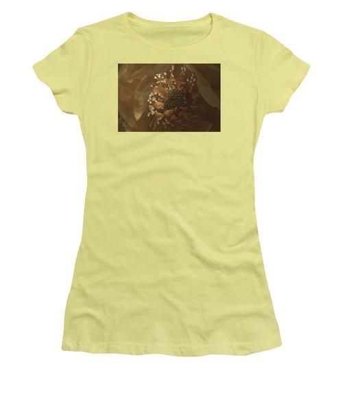 Women's T-Shirt (Junior Cut) featuring the photograph Trollius Stamen Macro by Sandra Foster