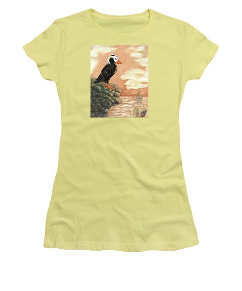 Women's T-Shirt (Junior Cut) featuring the painting Tufted Puffin At Dusk by VLee Watson