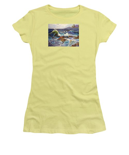 Women's T-Shirt (Junior Cut) featuring the painting Turbulent Waters Hawaii by Jenny Lee