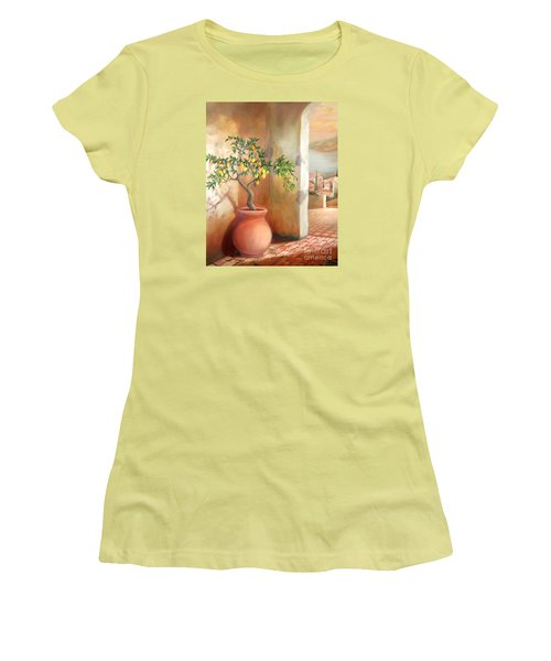 Women's T-Shirt (Junior Cut) featuring the painting Tuscan Lemon Tree by Michael Rock