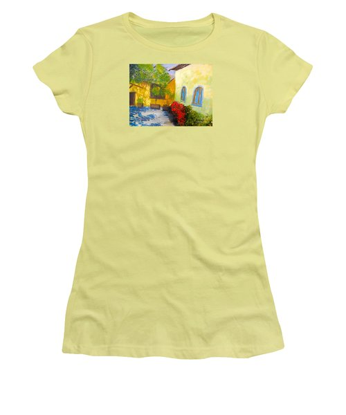 Women's T-Shirt (Junior Cut) featuring the painting Tuscany Courtyard 2 by Pamela  Meredith