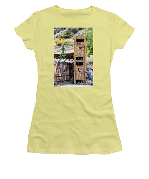 Women's T-Shirt (Athletic Fit) featuring the photograph Two-story Outhouse by Sue Smith