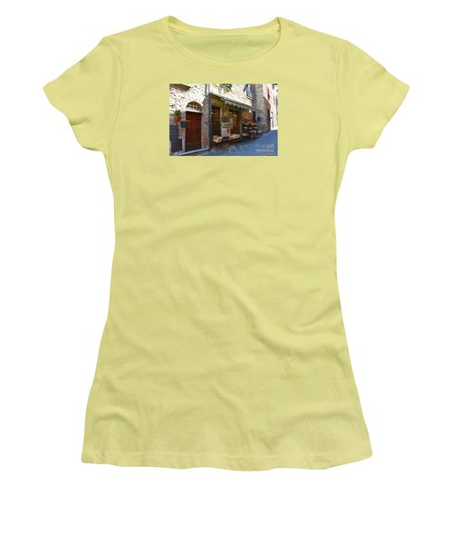 Women's T-Shirt (Junior Cut) featuring the photograph Typical Small Shop In Tuscany by Ramona Matei