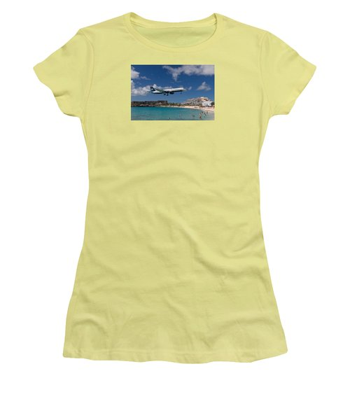 U S Airways Low Approach To St. Maarten Women's T-Shirt (Athletic Fit)