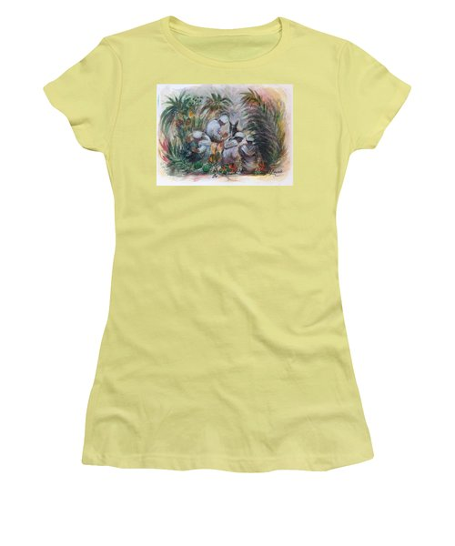 Under The Palm Trees At The Oasis Women's T-Shirt (Junior Cut) by Laila Awad Jamaleldin