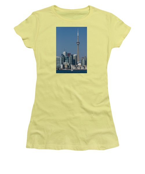 Up Close And Personal - Cn Tower Toronto Harbor And Skyline From A Boat Women's T-Shirt (Junior Cut) by Georgia Mizuleva
