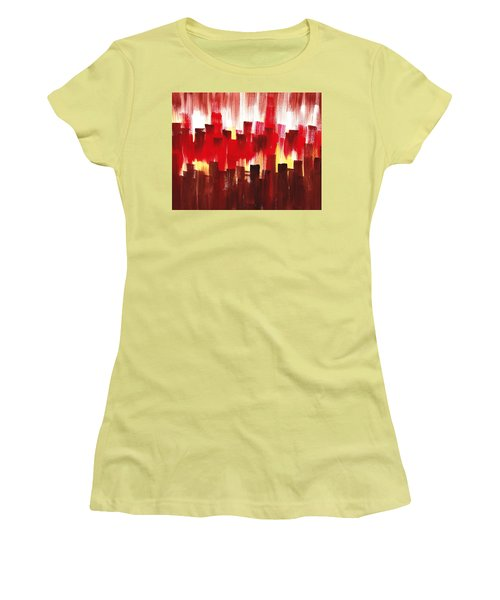 Women's T-Shirt (Junior Cut) featuring the painting Urban Abstract Evening Lights by Irina Sztukowski
