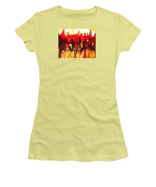 Women's T-Shirt (Junior Cut) featuring the painting Urban Abstract Glowing City by Irina Sztukowski