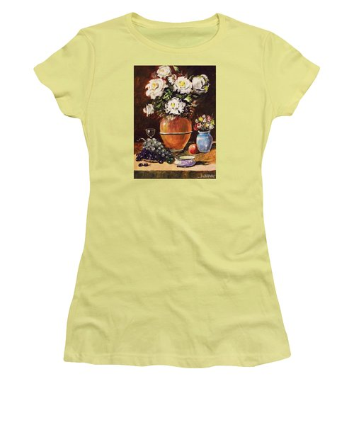 Women's T-Shirt (Junior Cut) featuring the painting Vase Of Flowers And Fruit by Al Brown