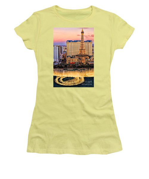 Women's T-Shirt (Junior Cut) featuring the photograph Vegas Water Show by Tammy Espino