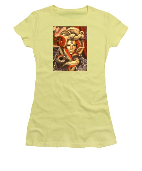 Women's T-Shirt (Junior Cut) featuring the painting Venetian Mystery Mask by Michael Swanson