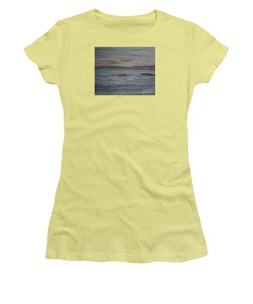 Ventura Pier High Surf Women's T-Shirt (Junior Cut) by Ian Donley
