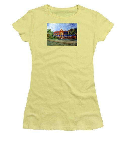 Vic And Angelos In Downtown Delray Beach Women's T-Shirt (Junior Cut) by Donna Walsh