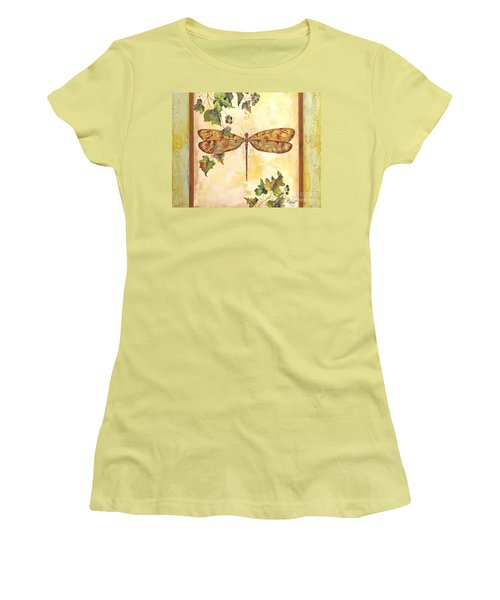 Vineyard Dragonfly Women's T-Shirt (Junior Cut) by Jean Plout