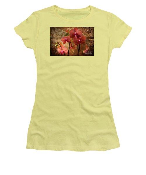 Vintage Burnt Orange Orchids Women's T-Shirt (Junior Cut) by Judy Palkimas