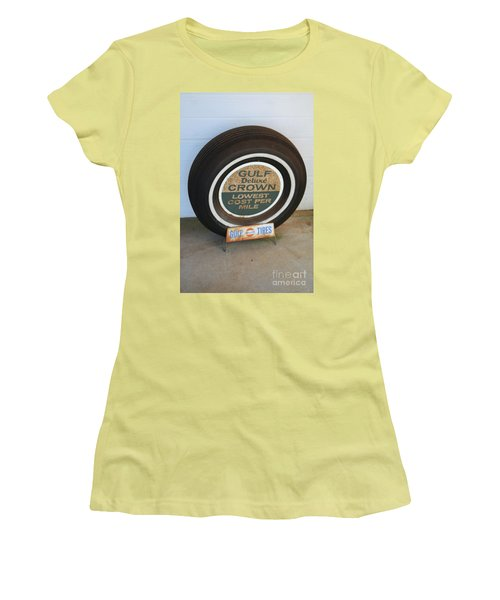 Women's T-Shirt (Junior Cut) featuring the photograph Vintage Gulf Tire With Ad Plate by Lesa Fine