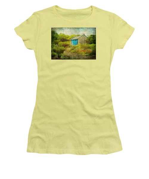 Vintage Inspired Garden Shed With Blue Door Women's T-Shirt (Junior Cut) by Brooke T Ryan