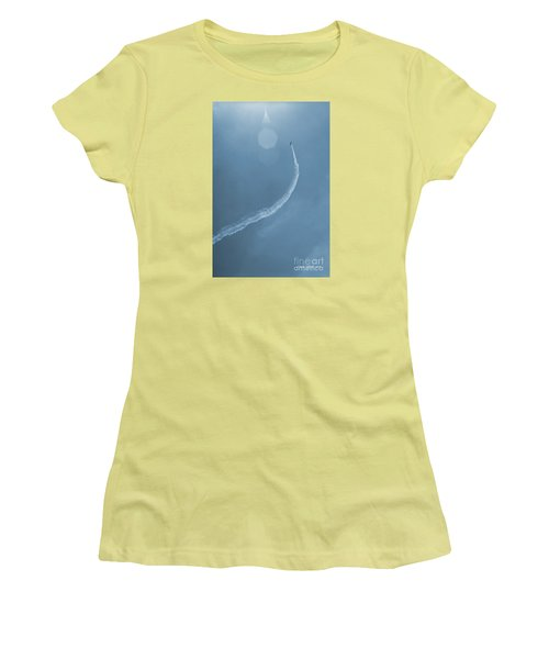 Vintage Jet In Teal Blue Women's T-Shirt (Junior Cut) by Connie Fox